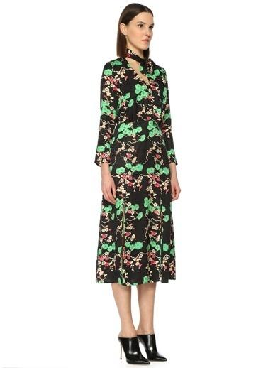 Rixo Çiçekli Yırtmaçlı Midi Elbise Siyah